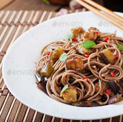 Soba noodles with eggplant in sweet and sour sauce