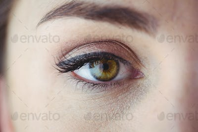 Eye with eyeliner and eyeshadow in close up