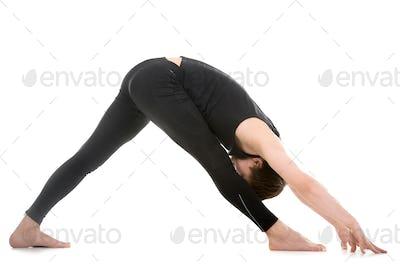 Legs stretching exercises, yoga pose parshvottanasana