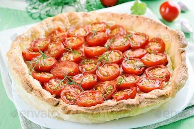 Tomato pie on white plate