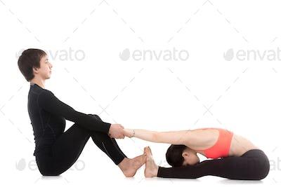 Yoga practice with partner