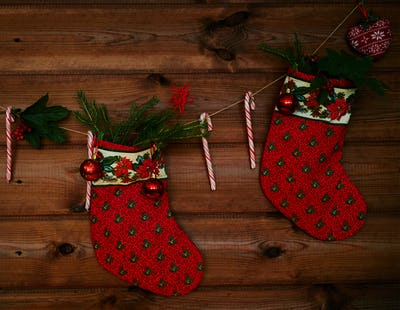 Christmas decorations on thread