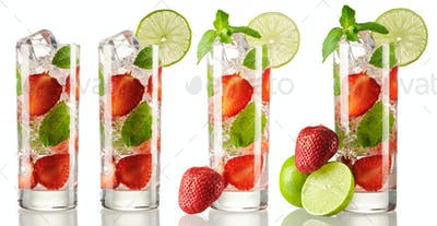 Strawberry mojito cocktail collection