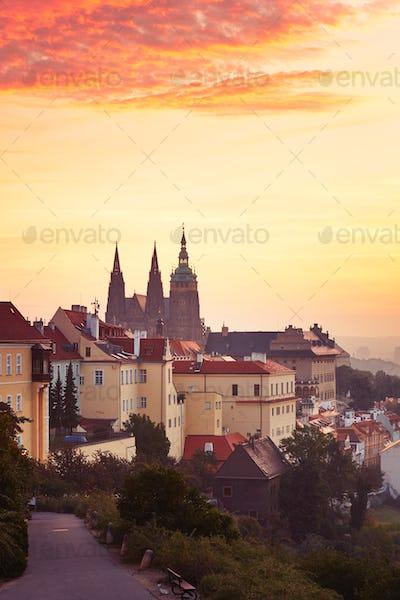 Prague at the sunrise
