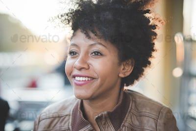 beautiful black curly hair african woman