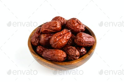 Dried jujube fruit isolated on white