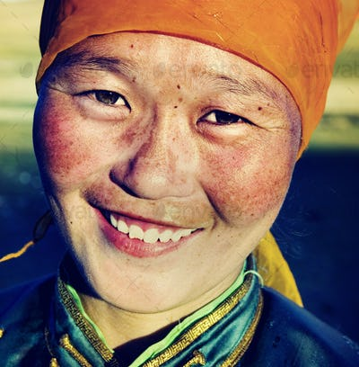 Mongolian Woman Traditional Dress Smiling Happiness Concept