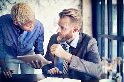 Team Partner Business Discussion Tablet Concept