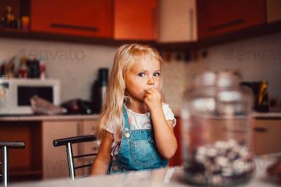 Girl on kitchen