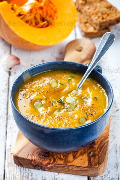 homemade pumpkin cream soup with seeds