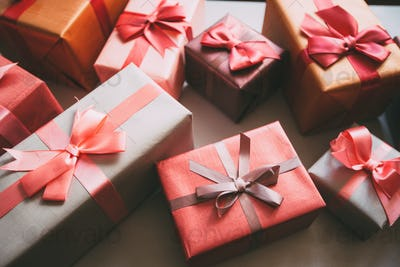 Boxes with gifts.