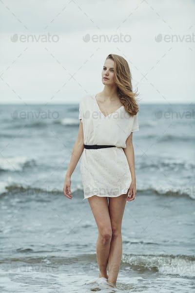 beautiful sensual girl in water portrait