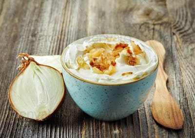 bowl of dip sauce with caramelized onions