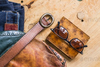 accessories on the wooden
