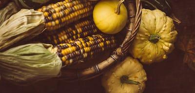 Corn and small pumpkins