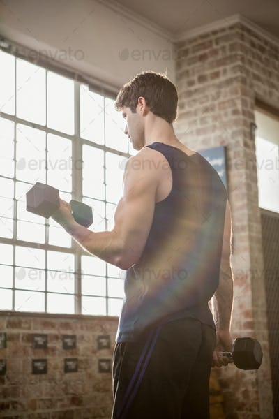 Rear view of focused man lifting dumbbells at the gym
