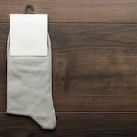 Pair Of Gray Socks With Blank Packing