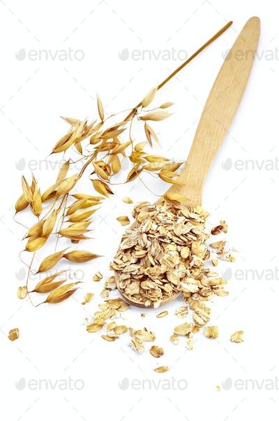 Rolled oats in a spoon