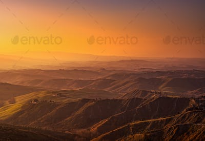 Tuscany, Volterra Le Balze rural landscape on sunset. Italy
