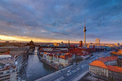 Downtown Berlin at sunset
