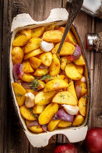 Rustic Fried Potato. Top view.