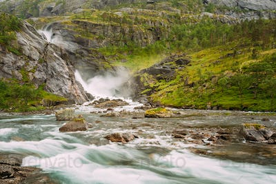 Beautiful Waterfall in the Valley of waterfalls in Norway