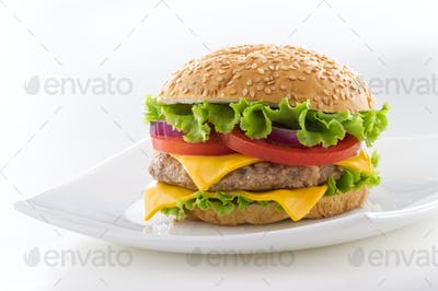 Beautiful and juicy burger close-up. Food is a series of fast-food.