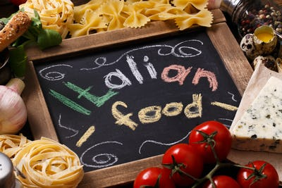 Ingredients for an Italian pasta recipe