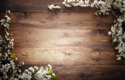 Summer Flowers on wood texture background
