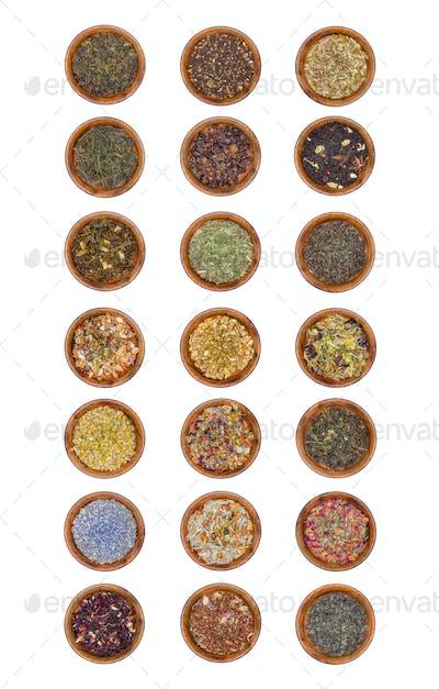21 samples of tea leaves