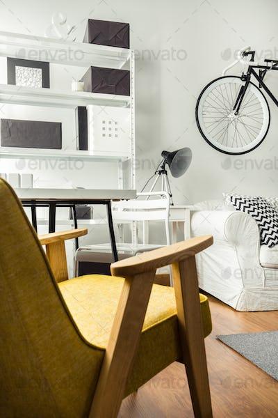 Stylish yellow armchair