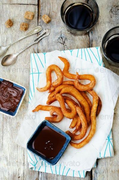 churros with chocolate sauce