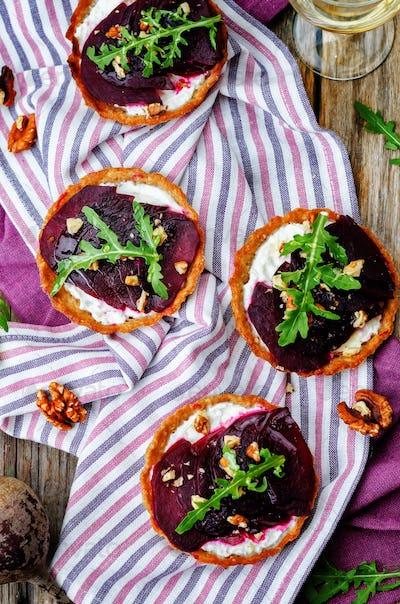 goat cheese beet arugula walnut honey tartlets