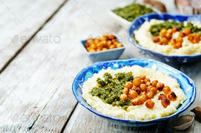 cheese polenta with Basil nuts pesto and roasted spicy chickpeas