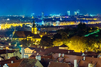 Night aerial view of cityscape of Prague, Czech Republic
