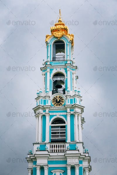 Five-tiered Lavra Bell Tower, built in the years 1741-1770 in Tr