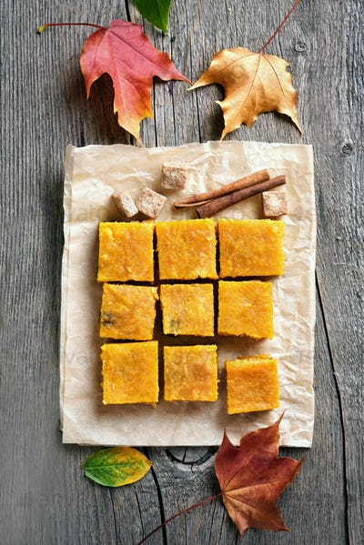 Pumpkin bars on wooden table