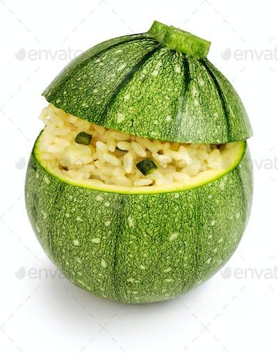 stuffed zucchini isolated on white