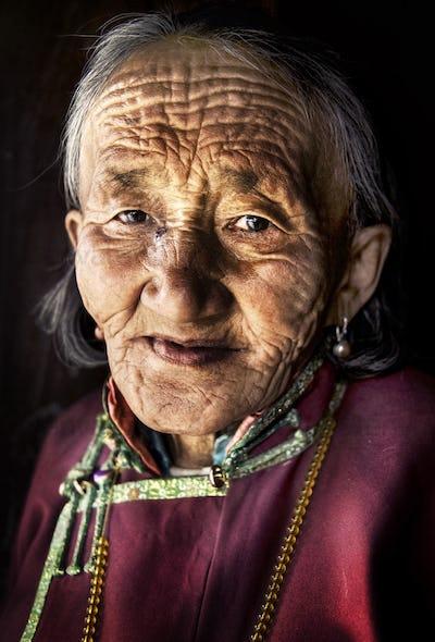 Mongolian Woman Traditional Dress Lifestyle Concept