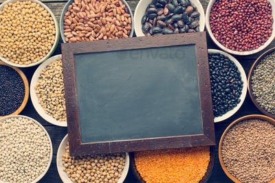 various legumes and chalkboard