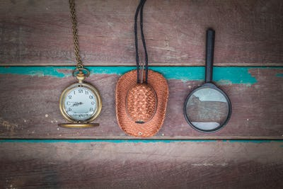 Accessories on a wooden
