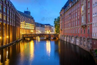 Canal at dawn in Hamburg