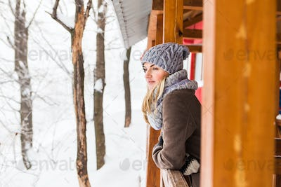 Attractive young woman in wintertime