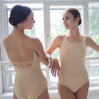 The two classic ballet dancers posing at barre