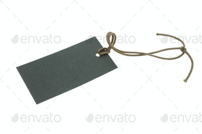 Blank black tag with string
