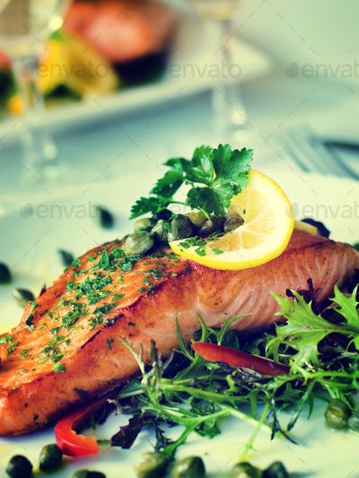 Grilled Salmon Fillet Vegetables Glass White Wine Concept