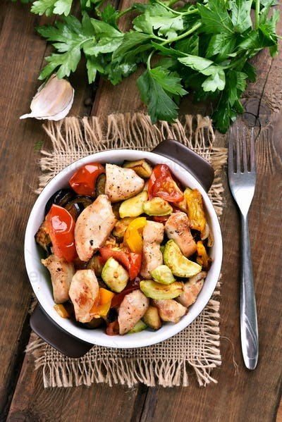Vegetables with chicken meat