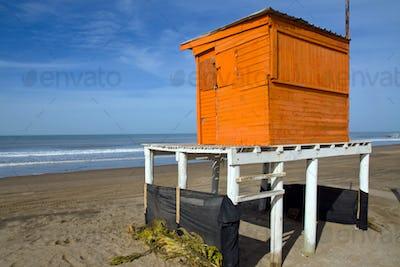 Orange lifeguard tower