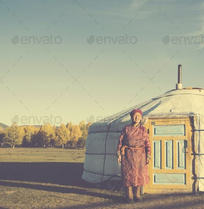Mongolian Lady Standing Tent Scenic View Tranquil Concept