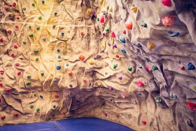 Rock climbing wall at the gym